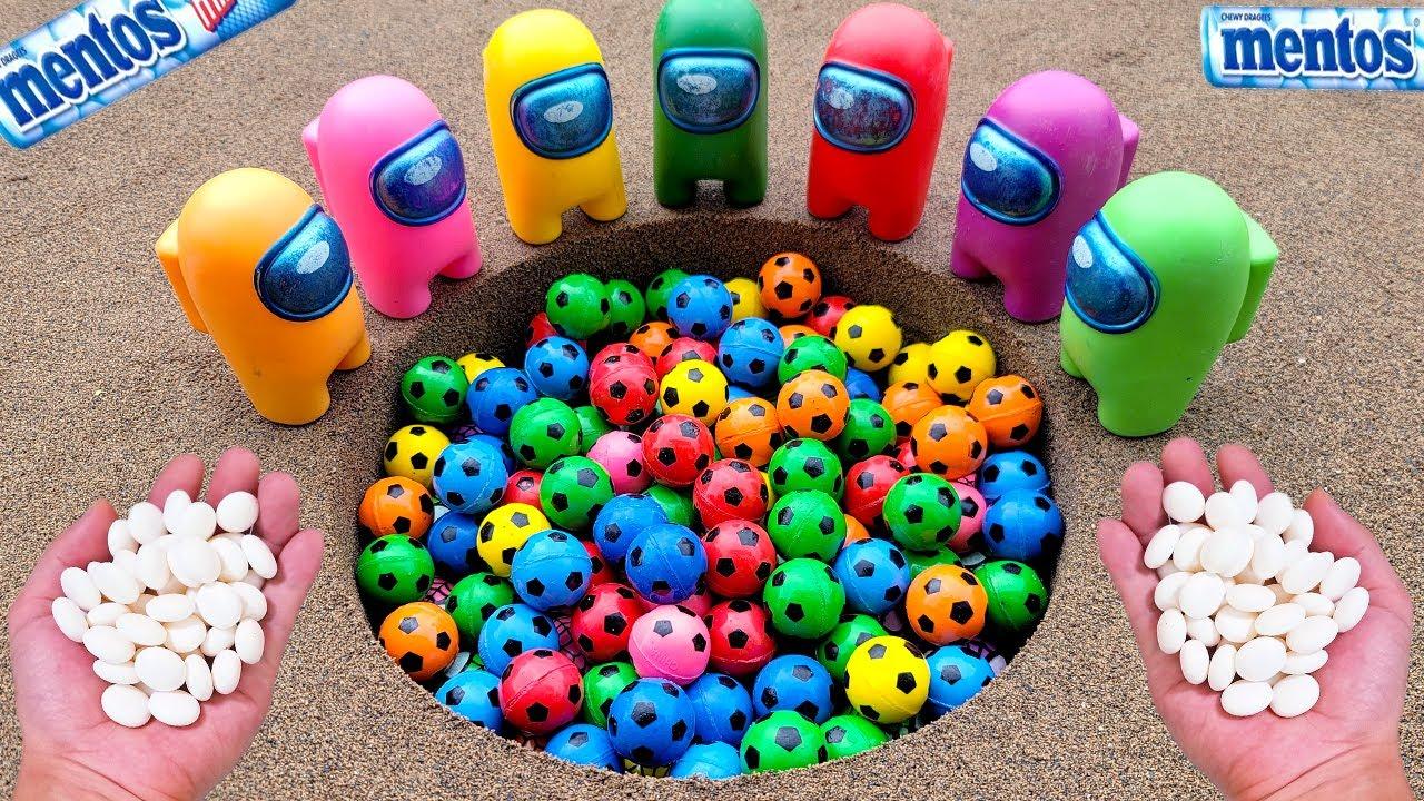 Different Toy footbal Experiment Cola Cola, Fanta, Mirinda, Pepsi, Sprite football and Mentos