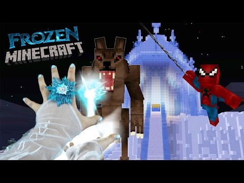 REALISTIC MINECRAFT - FROZEN - SPIDERMAN SAVES ELSA FROM THE BIG BAD WOLF! Minecraft Animation