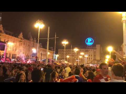 Croatia fans celebrate World Cup semi-final win over England, Zagreb, 11.07.2018. thumbnail