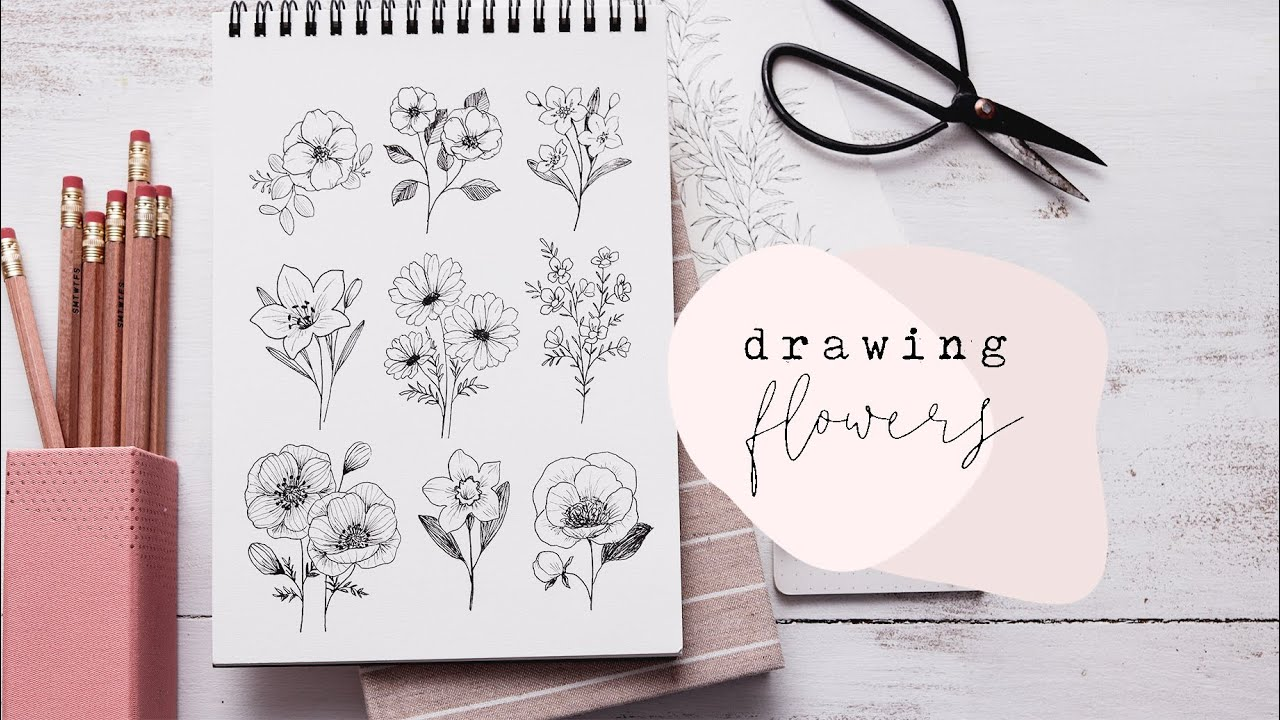 How To Draw Flowers Florals Step By Step Youtube