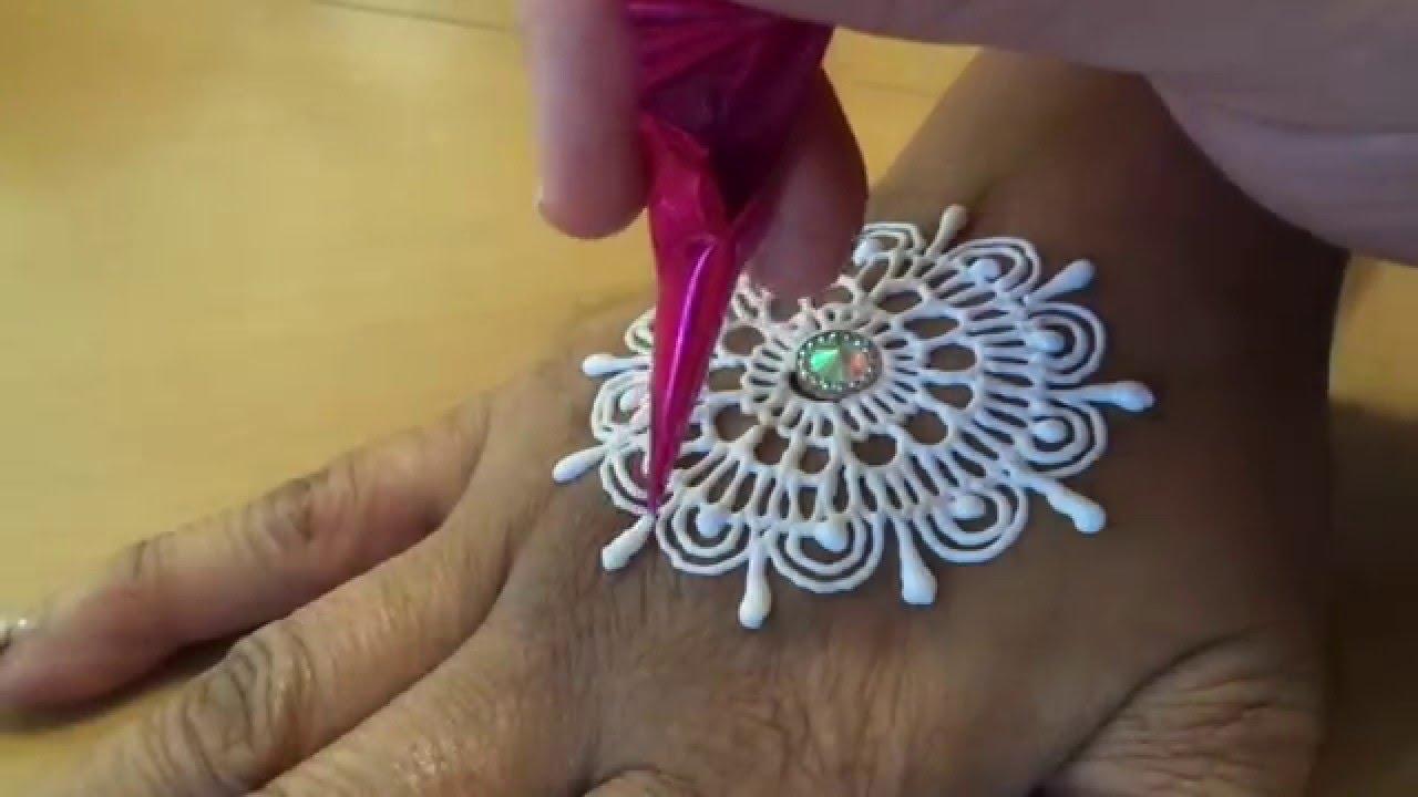 White Henna Tutorial Free Hand Mehndi Youtube