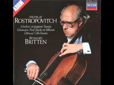 Rostropovich & Britten play Allegro Moderato: 1st movt from Schubert Arpeggione Sonata
