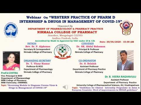 "Webinar  On ""WESTERN PRACTICE OF PHARM D INTERNSHIP & DRUGS IN MANAGEMENT OF COVID-19"""