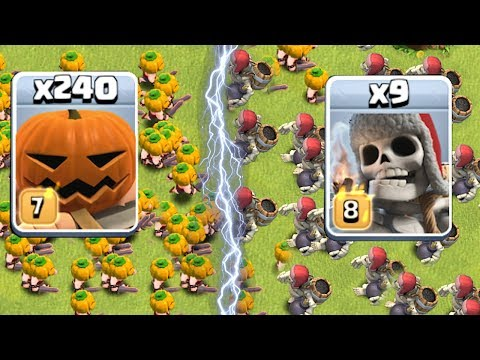 GIANT SKELETON vs. PUMPKIN BARB!!