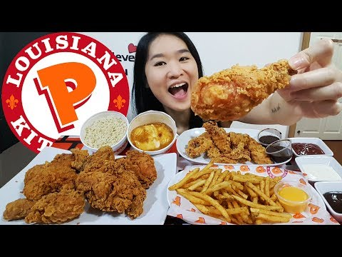 POPEYES FRIED CHICKEN FEAST! Cajun Fries, Fried Chicken Tenders | Mukbang Eating Show Food Review