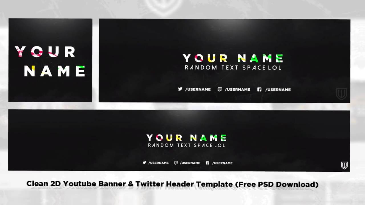 Clean 2D Youtube Banner Twitter Header Template Free PSD Download