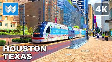 Walking tour of Downtown Houston in Texas, USA 2020 Travel Guide 🎧  Binaural City Sound【4K】