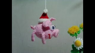 Брелок - поросенок Хрю! Keychain - piggy oink!  Amigurumi. Crochet.  Амигуруми. Игрушки крючком.