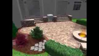 3d Brick Paver Patio Design Including Steps, Firepit, Bbq Grill Island And Seatwall