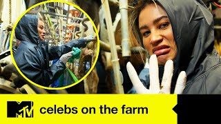 Montana Gets A Mucky Shock As She Tackles A Cow Milking Challenge | Celebs On The Farm