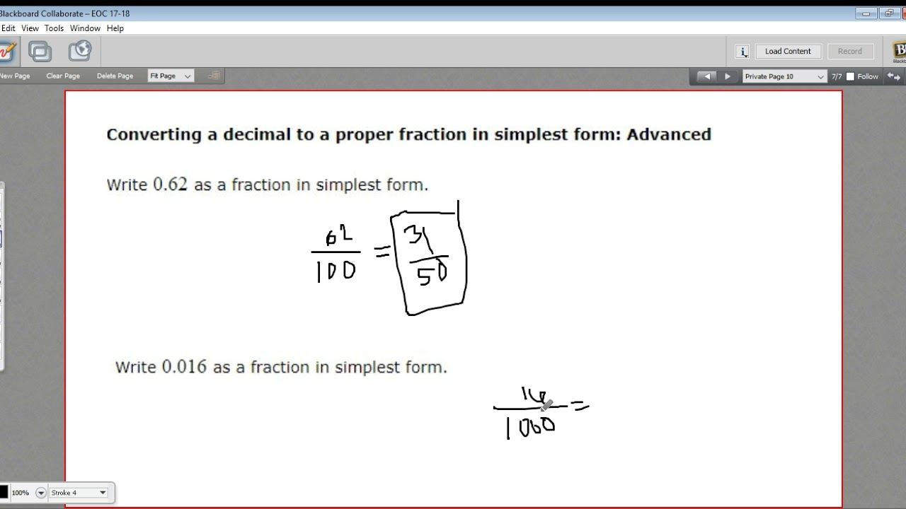 Converting a decimal to a fraction in simplest form advanced converting a decimal to a fraction in simplest form advanced falaconquin