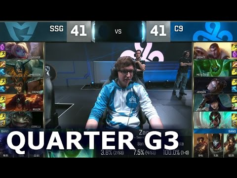 C9 vs SSG - Game 3 Quarter Finals Worlds 2016 | LoL S6 World Championship Cloud 9 vs Samsung G3