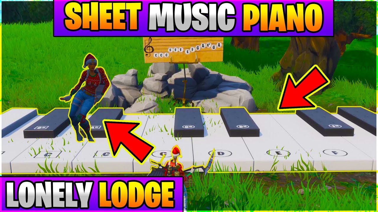 fortnite lonely lodge piano location play the sheet music on the pianos near lonely lode week 2 - how do you play the piano in fortnite lonely lodge