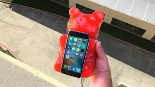 Can Worlds Largest Gummy Bear Protect iPhone 6 from 100 FT Drop? - GizmoSlip
