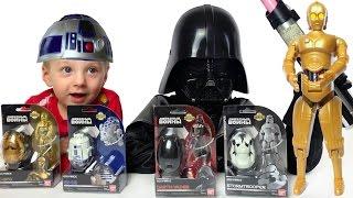 Star Wars Egg Force Герои Звездных Войнов Трансформируются в Яйца Видео для детей(Отличные игрушки от BAN DAI и Disney Открываем четыре персонажа Звездных Войнов Дарт Вейдер Darth Vader 84545 Штурмовик..., 2016-03-25T20:53:39.000Z)