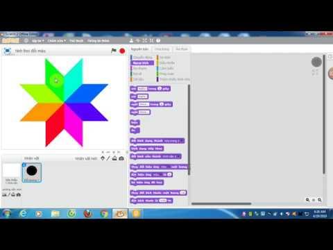 Lập trình Scratch vẽ hình hoa tuyệt đẹp từ các hình thoi nhiều màu sắc