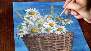 Как рисовать цветы ромашки в корзине(Как можно нарисовать поэтапно цветы ромашки в корзине. В этом видео я рисую гуашью., 2016-03-21T04:44:25.000Z)