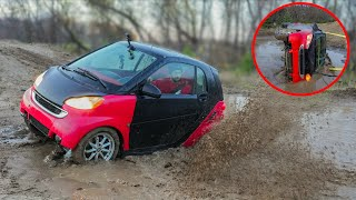 Smart Car Tips over Mudding