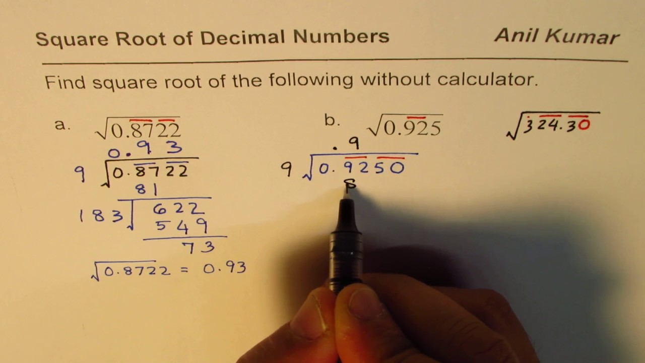 Learn how to calculate square root using long division method.