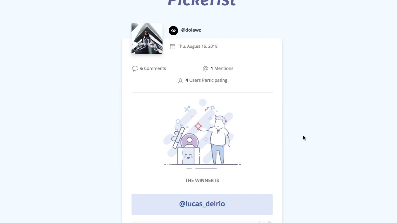 Pickerist - Instagram raffles from comments on 1-click | Product Hunt