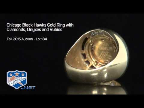 Chicago Black Hawks Gold Ring with Diamonds, Onyxes and Rubies