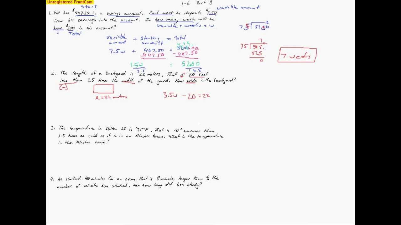 1 6 Part B Solving Two Step Equations Word Problems Youtube