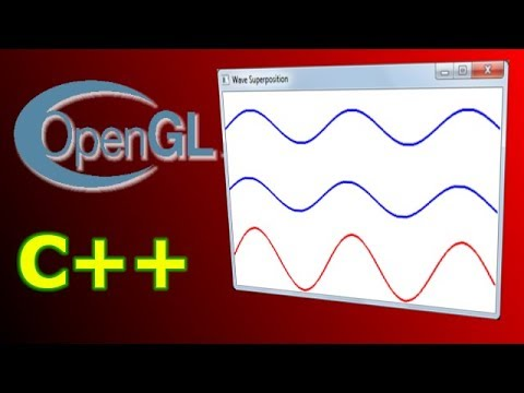 Wave superposition | OpenGL implementation (C++, GLUT) | With tutorial and  source code