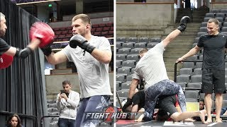 STIPE MIOCIC DISPLAYS BOXING AND HUMPS TRAINING PARTNER AT UFC 241 OPEN WORKOUTS