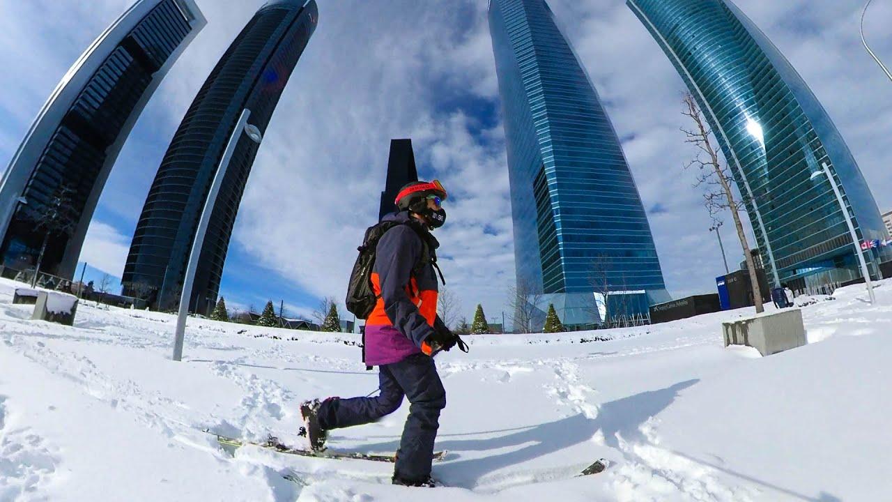 Esquiando en las 4 torres de la Castellana en Madrid. Freeride urbano. VLOG 49