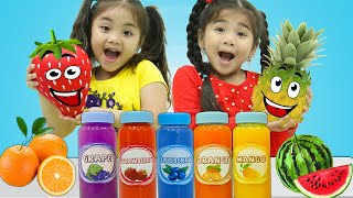 Suri & Annie Pretend Play Making Fruit Juices and Yummy Drinks with Kids Food Toys