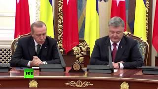 Erdogan struggles to stay awake during presser with Ukraine's Poroshenko