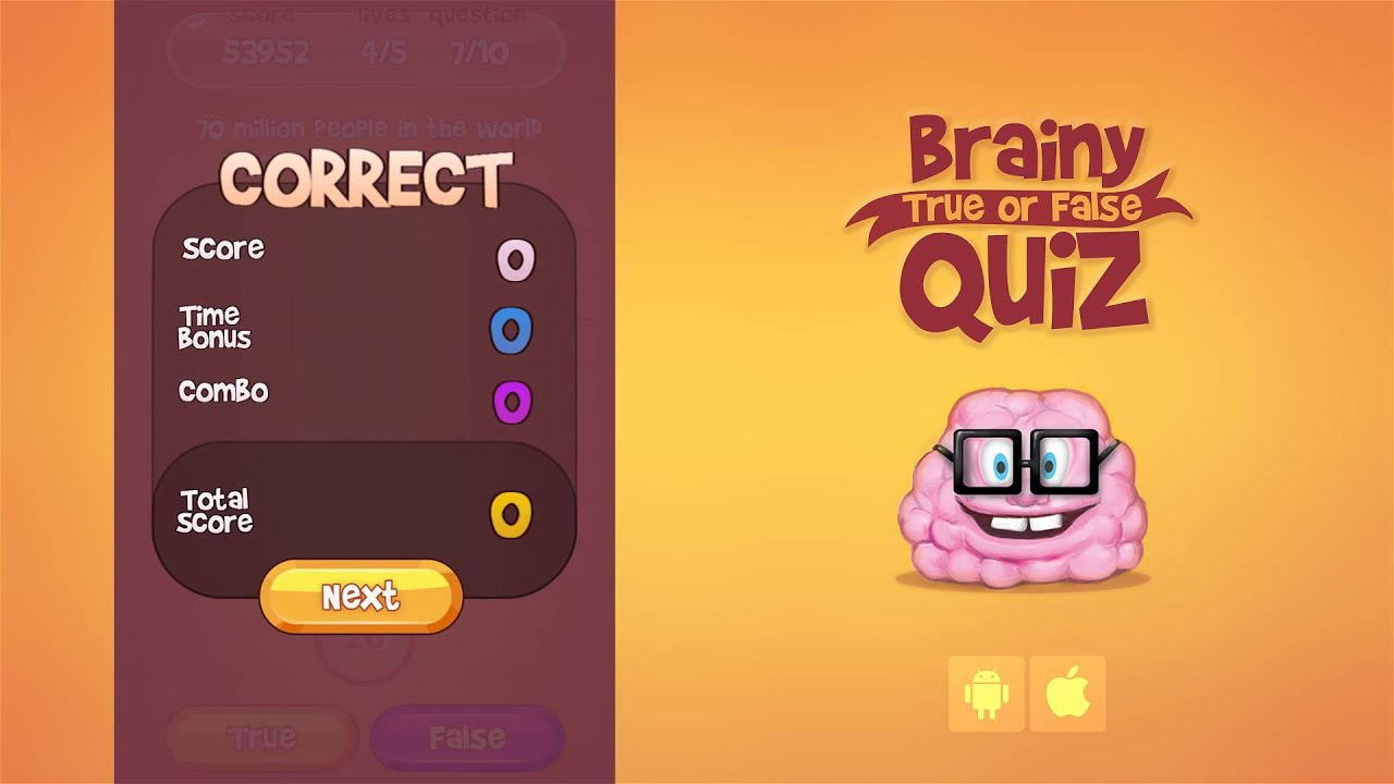 Brainy True False Quiz  Android   iOS  Game   YouTube Brainy True False Quiz  Android   iOS  Game