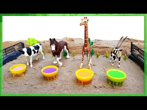 Learn Colors With Milk Cows Colours With Animals Toys Play Doh For Kids Children