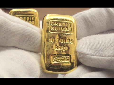 Credit Suisse 10 Tola 999 Gold Cast Bar