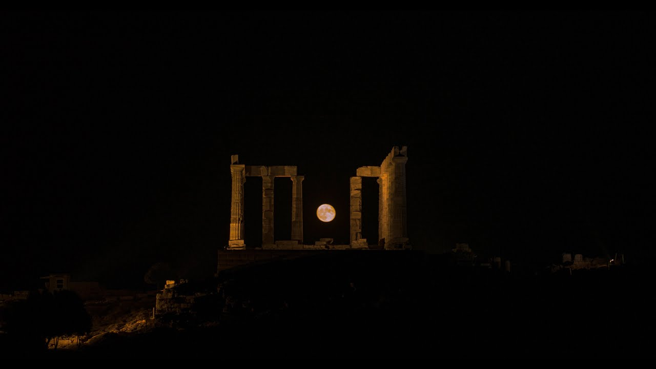 Brightest Moonrise   Temple of Poseidon   DJI Inspire 2 X7