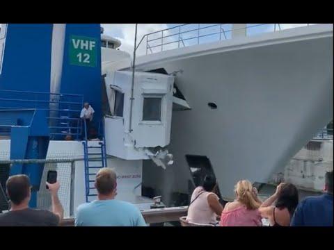 Superyacht Ecstasea wrecks the Simpson Bay Bridge Operator's shack!