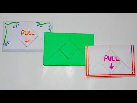 DIY PULL TAB ORIGAMI ENVELOPE | EASY PAPER ENVELOPE | ORIGAMI ENVELOPE