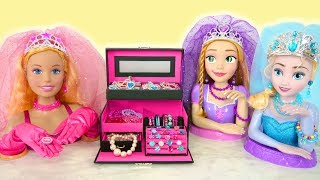Giant Barbie Elsa Rapunzel Styling Head Wedding Makeover Pink Jewelry Box Boneka Barbie Boneca