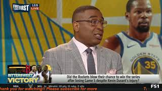 First Things First | Warriors beat Rockets 104-99; KD left game with right calf strain- Cris WORRIED