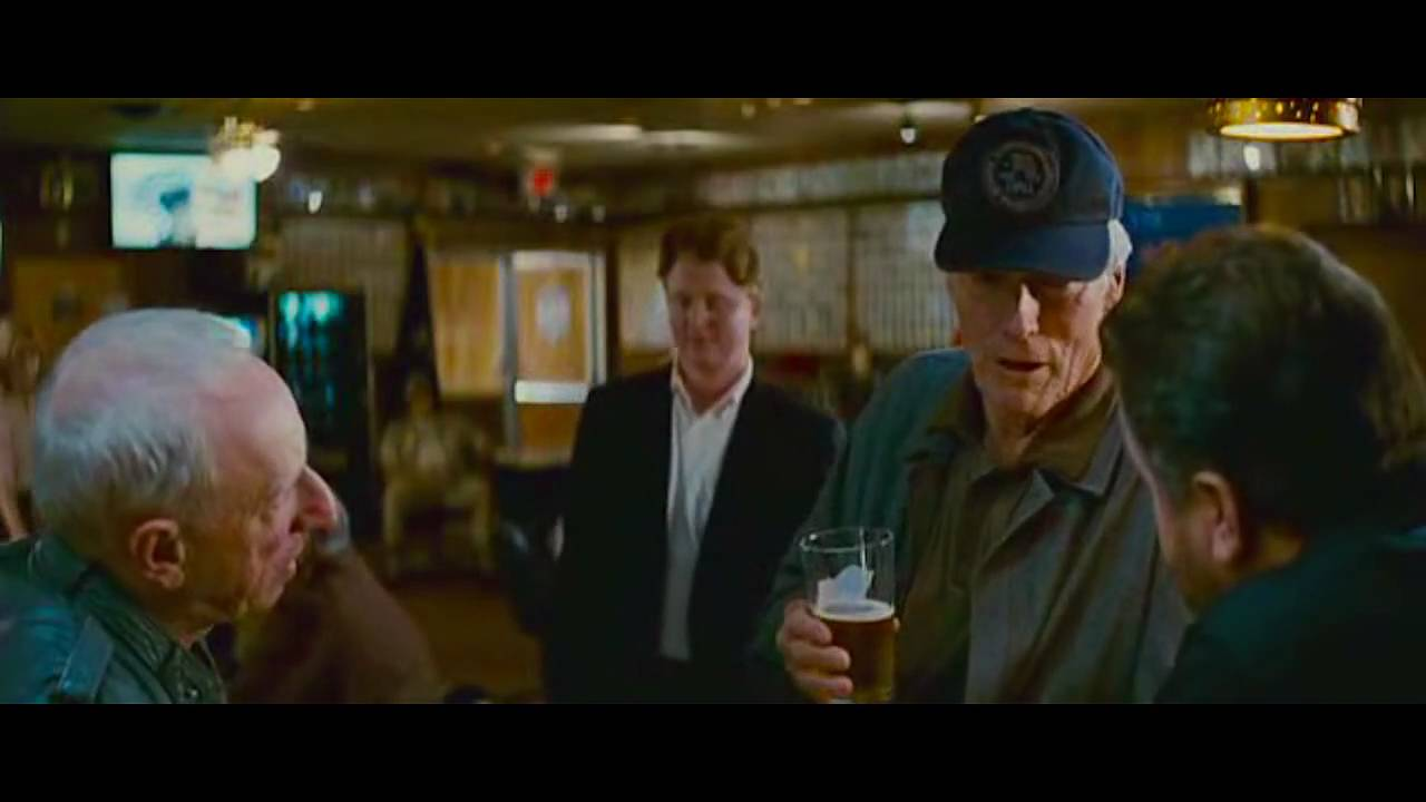 Clint eastwood racist bar joke in gran torino youtube for Bar maison torino
