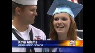 Sailor Surprises Sister, Student With Leukemia Walks at Greenwood Graduation