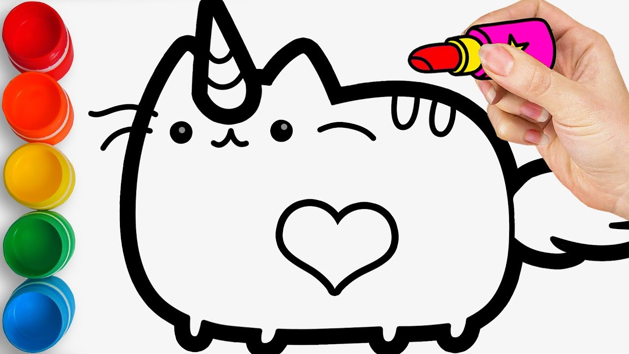 Cute Fat Unicorn On Leaf Coloring Page - Free Printable Coloring ... | 720x1280