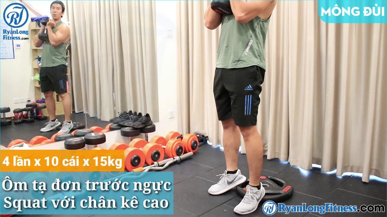 Ôm tạ đơn trước ngực Squat với chân kê cao   Nam   Junie HLV Ryan Long Fitness