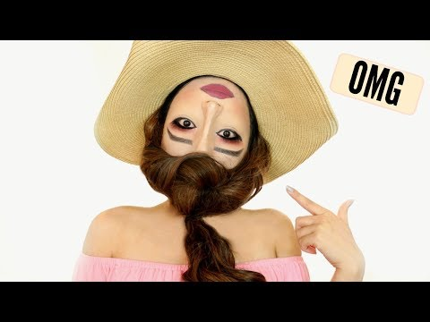 UPSIDE DOWN 'REVERSE HEAD' Makeup Tutorial !!!