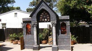 Halloween Facade Haunted House Prop   Spooky Mausoleum Entrance   Halloween Decorations