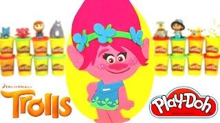 Ovo Surpresa Gigante da Poppy de Trolls em Português Brasil de Massinha Play Doh