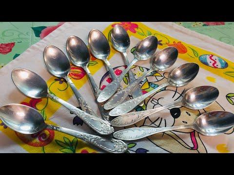 Отличный Способ Чистки Столовой Посуды Почистила Ложки из Мельхиора