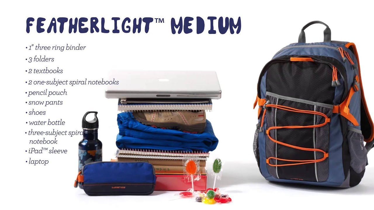 Lands' End® FeatherLight Medium Backpack — What it fits. - YouTube