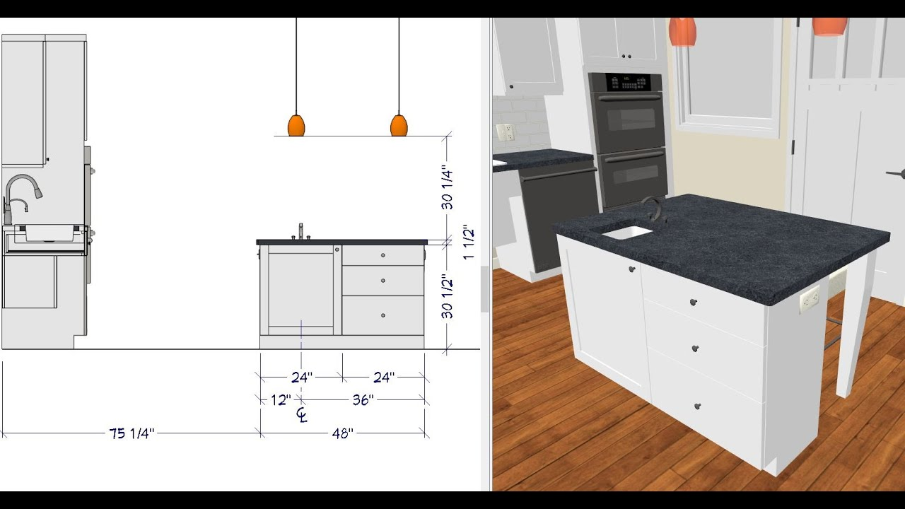 6 Creating a Kitchen Island for the NKBA CKBD Exam - YouTube