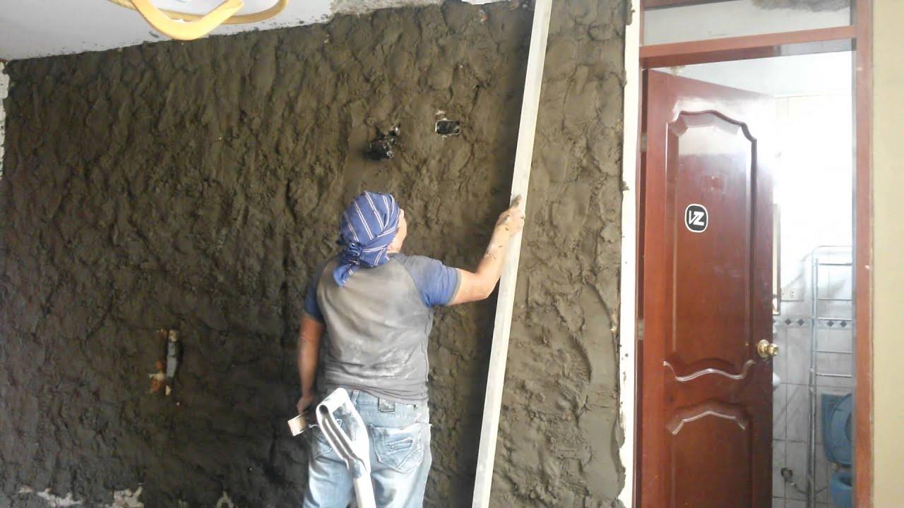 Como tarrajear o revocar una pared con cemento parte 02 08 - Cemento decorativo para paredes ...